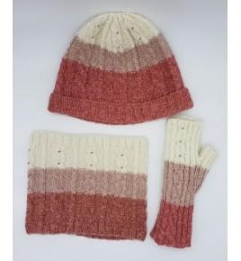 Bonnet tricolore rouge/rose...